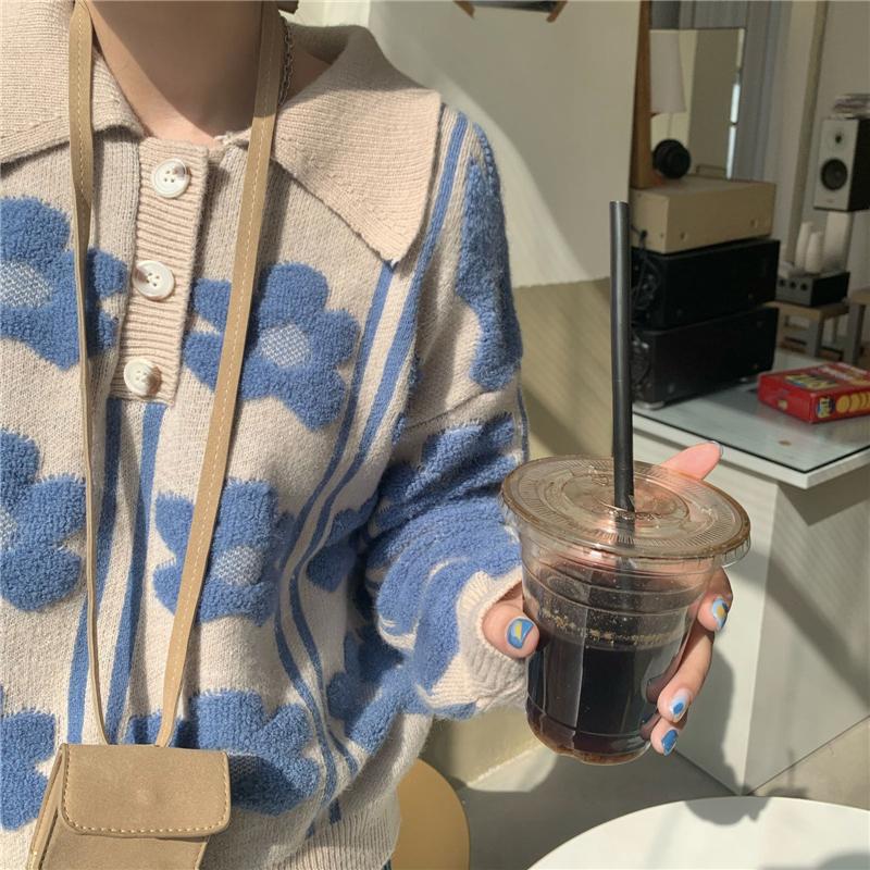 kn3304 blue flower collar knit