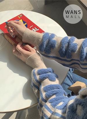 kn3304 blue flower collar knit 針織衫
