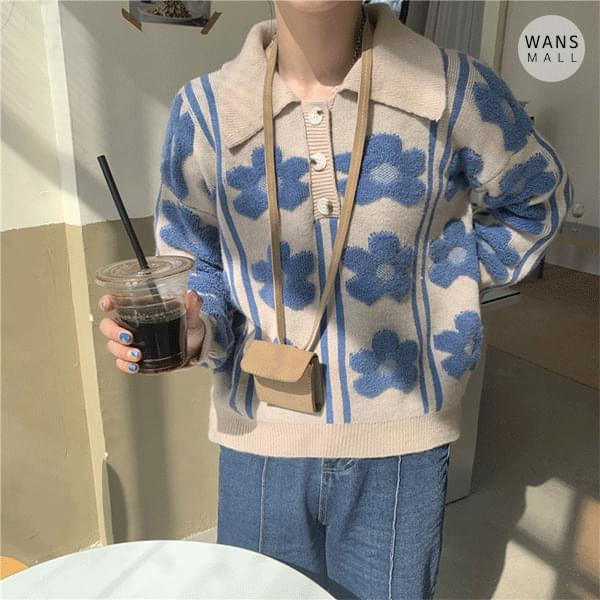 kn3304 blue flower collar knit (Delayed delivery)