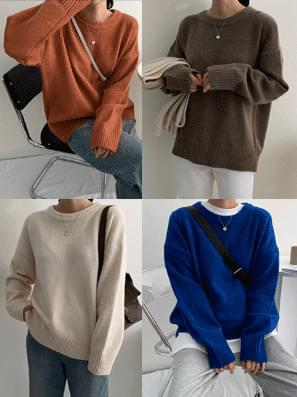 韓國空運 - Mellow Round Color Knit 針織衫