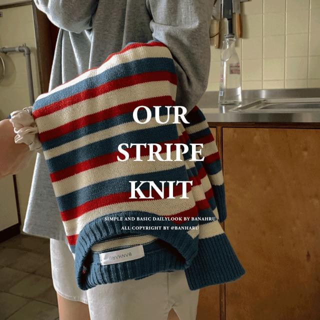 Loose Fit Drop Shoulder Stripe Knit