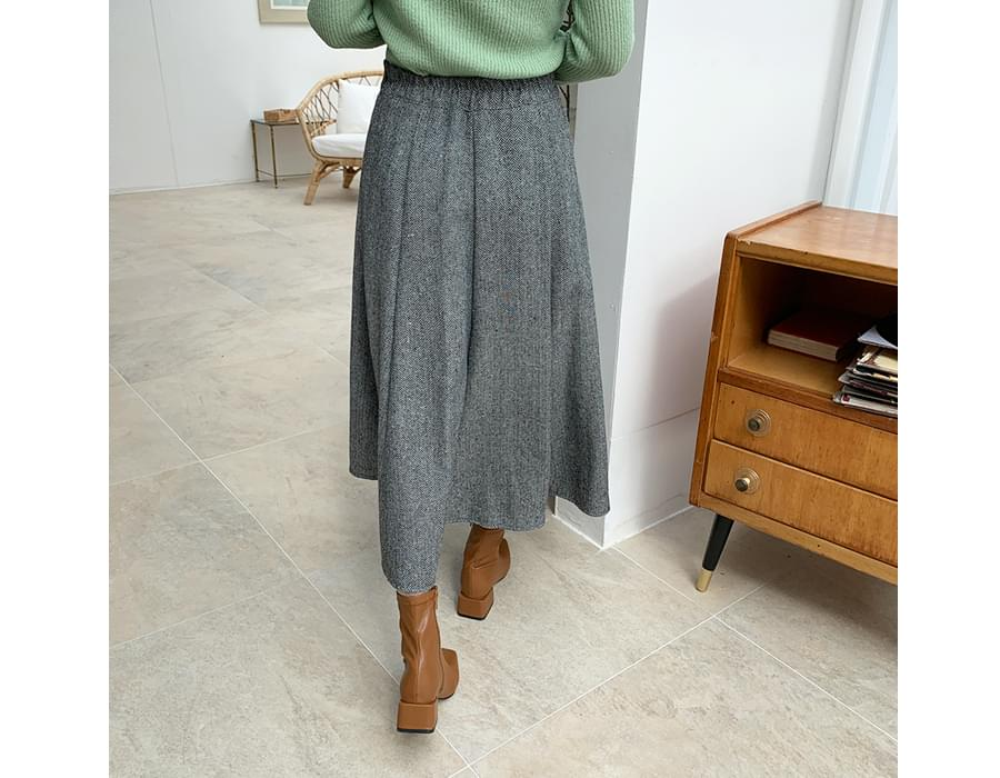 Herringbone flared skirt