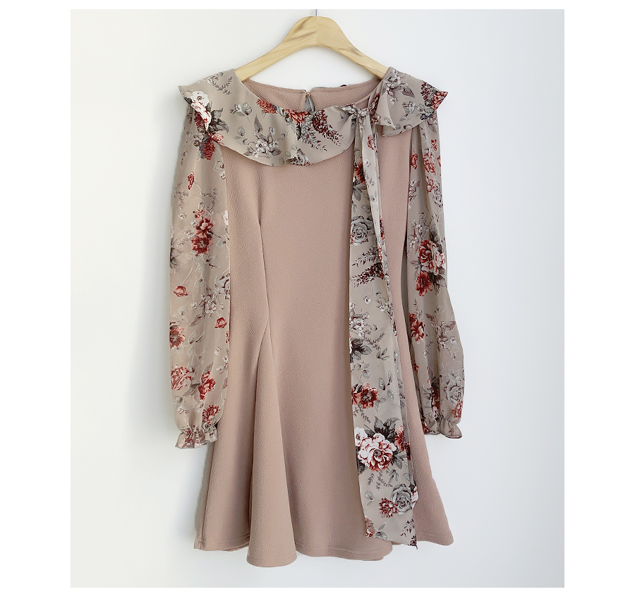 TS Flower Color Matching Dress 2color