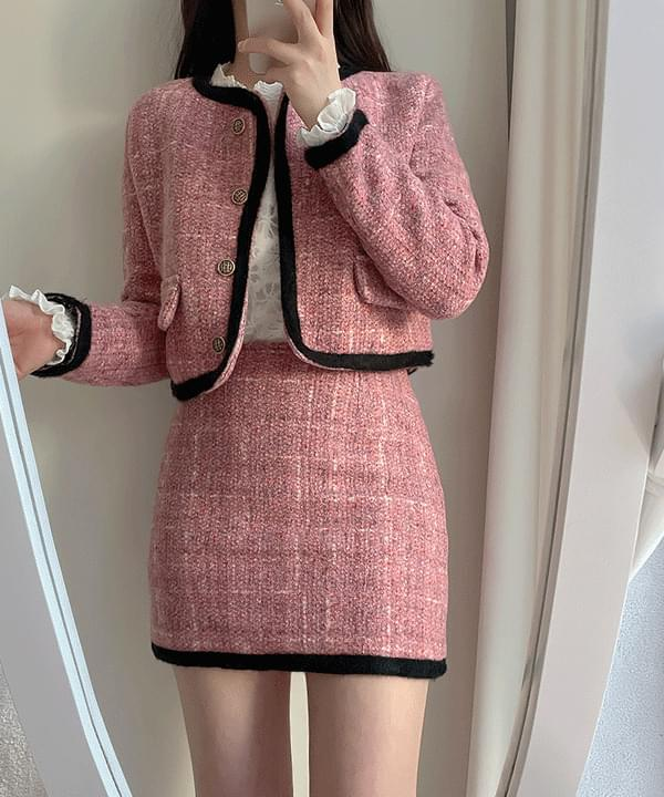 Berry tweed jacket + quilted skirt two-piece 2color set