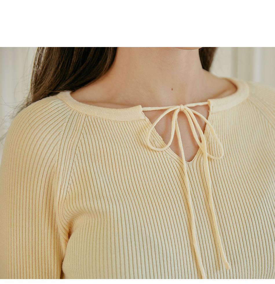 Ribbon Accent Ribbed Raglan Knit Top