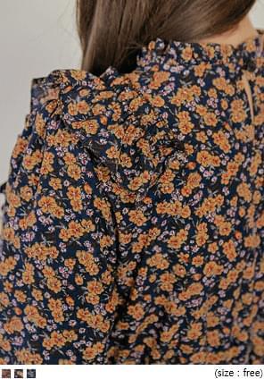 荷葉邊裝飾鬆緊腰碎花短洋裝