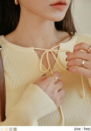 混羊毛抽繩圓領羅紋針織衫
