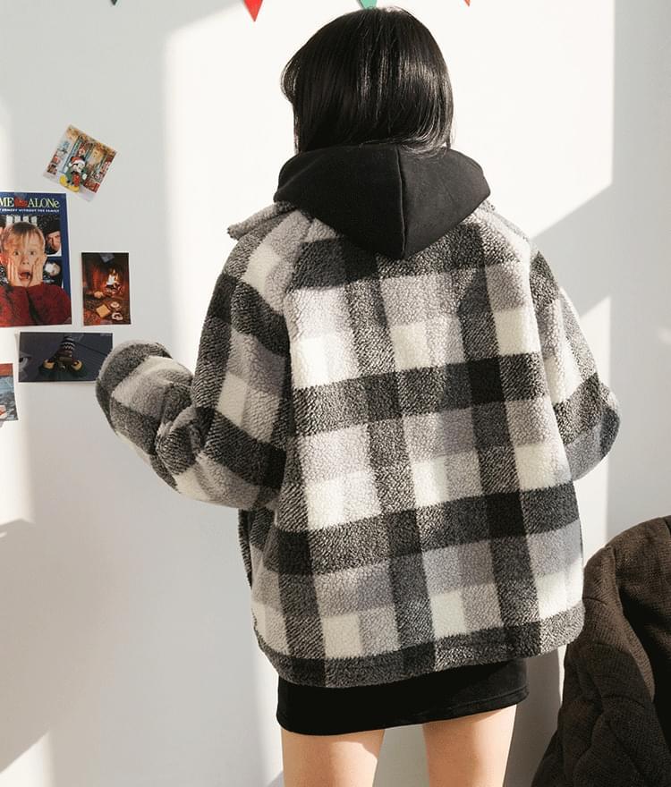 Sherpa Fleece Check Jacket