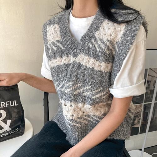 Wool V Neck Knit Vest T#YW725