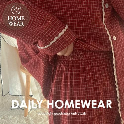 #homewear:_lamel check pajamas set