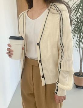 韓國空運 - Ribbed lining Knitwear Cardigan 針織外套