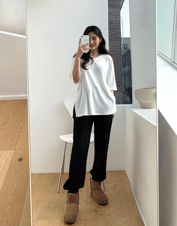 韓國空運 - Soft Fleece-lined box tea 短袖上衣
