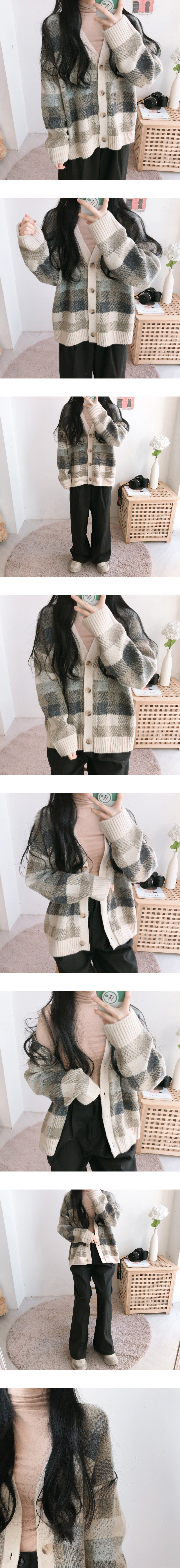 Lacquered check boxy knit cardigan