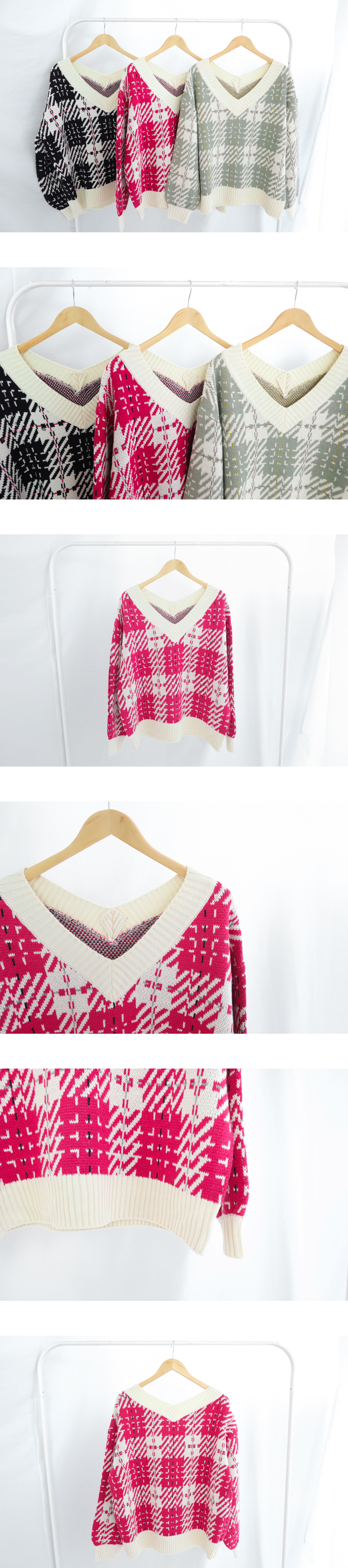 Harley check front and rear V-neck knit