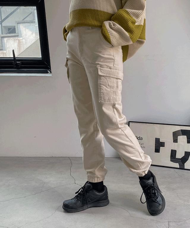 Maison Peach Fleece-lined Banding Cargo Jogger Pants