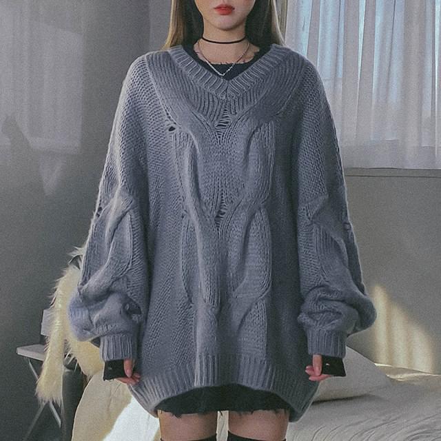 V領寬鬆柔軟針織上衣 (人氣商品配送延遲)