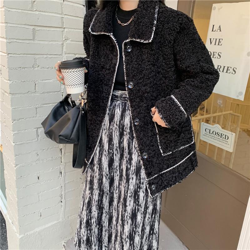 jk0018 black white line fleece jacket