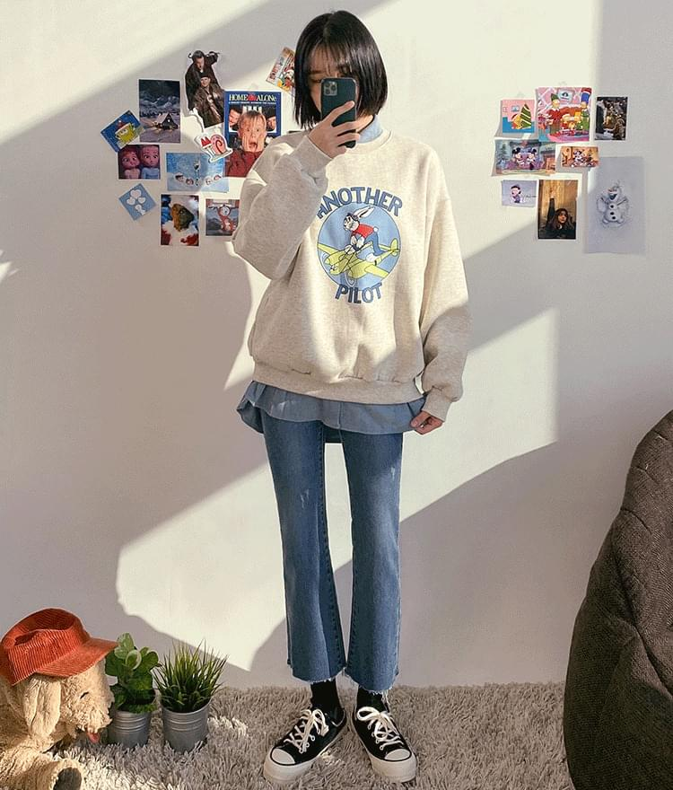韓國空運 - Cartoon Graphic Print Sweatshirt 長袖上衣