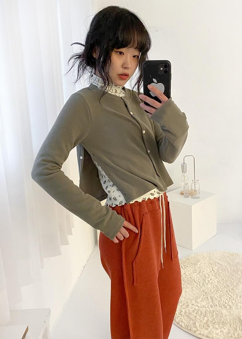 Button side slit knit cardigan