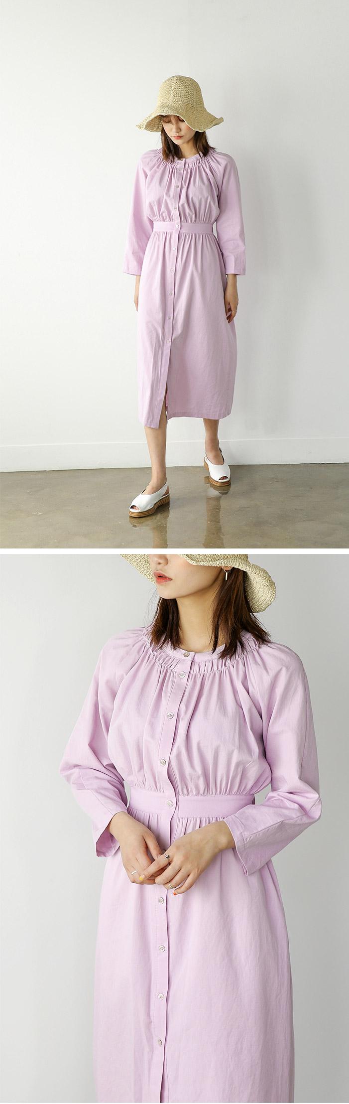 Shirring Banding Long Dress