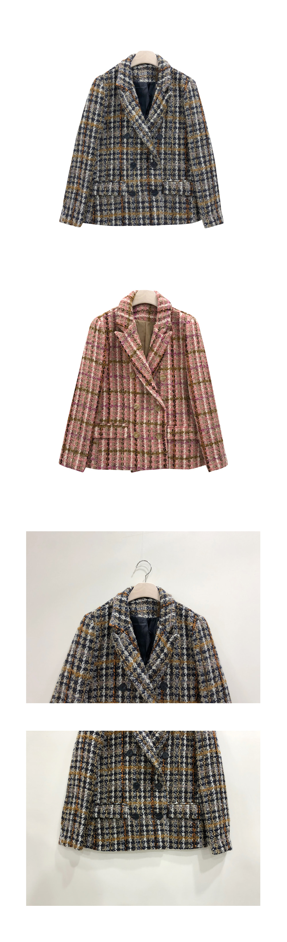 Double Button Wool Tweed Jacket O#YW315