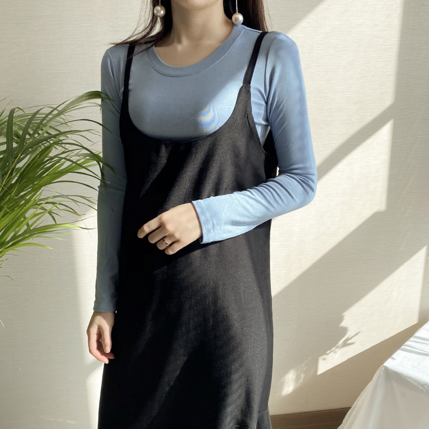 Freejay Basic Round Long Sleeve Span Crop T-Shirt 6colors