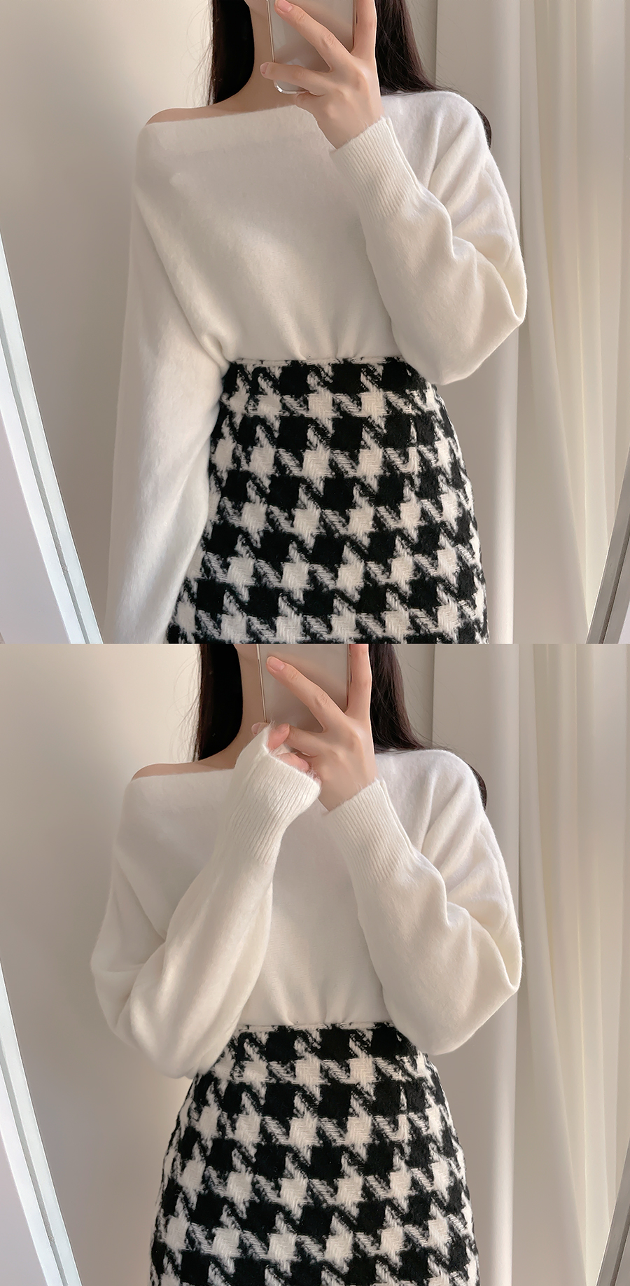 Sweet Hound Check Skirt 2color