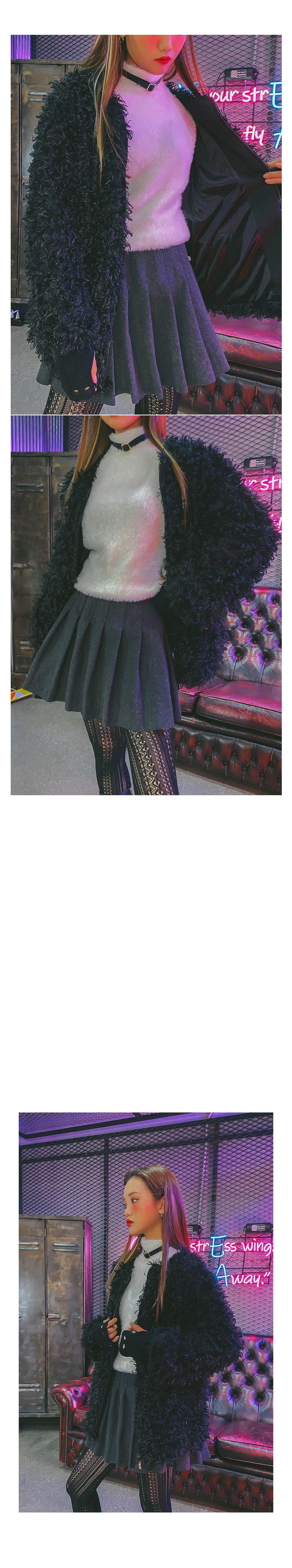 Pleated Pecky Wool Skirt