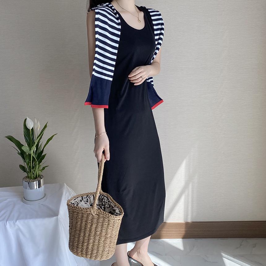 FreeJ Basic Basic Long Sleeveless Dress 1colors