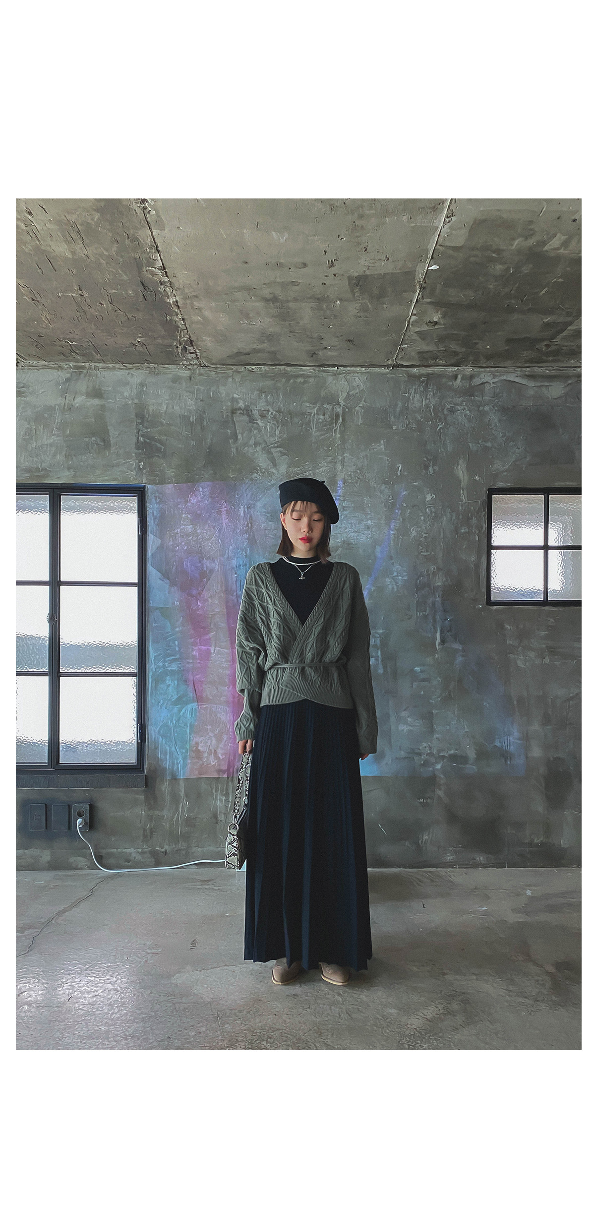 Wool-coming knit long skirt