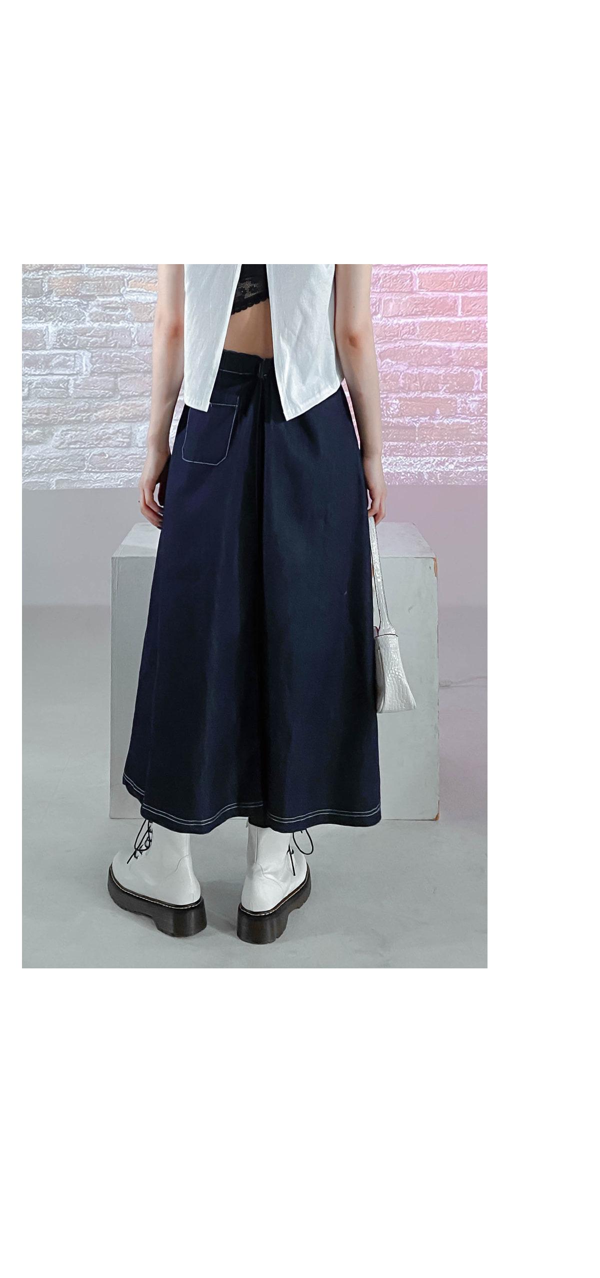 Raw Tie Long Skirt