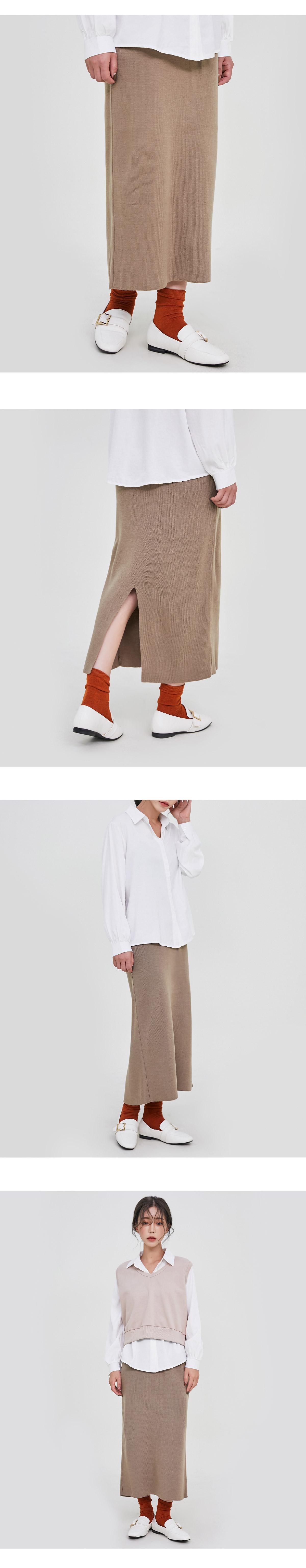 Hash back split long skirt