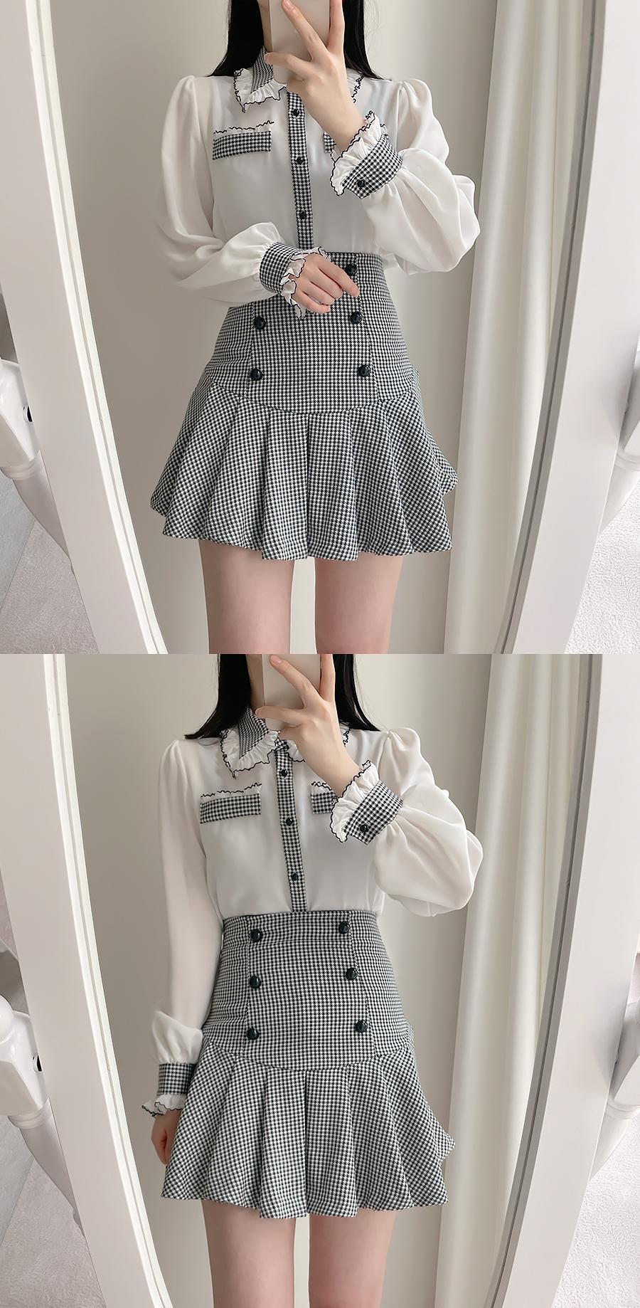 Luciel pleated double skirt pants 2color