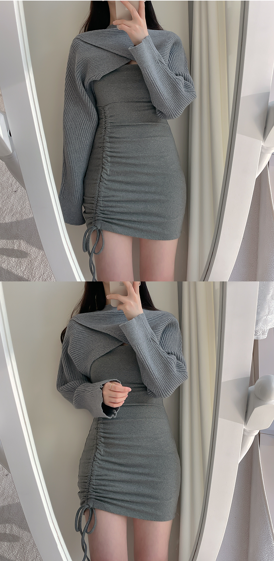 Len Knitwear Ribbed Bolero Top + Shirring Dress 2color