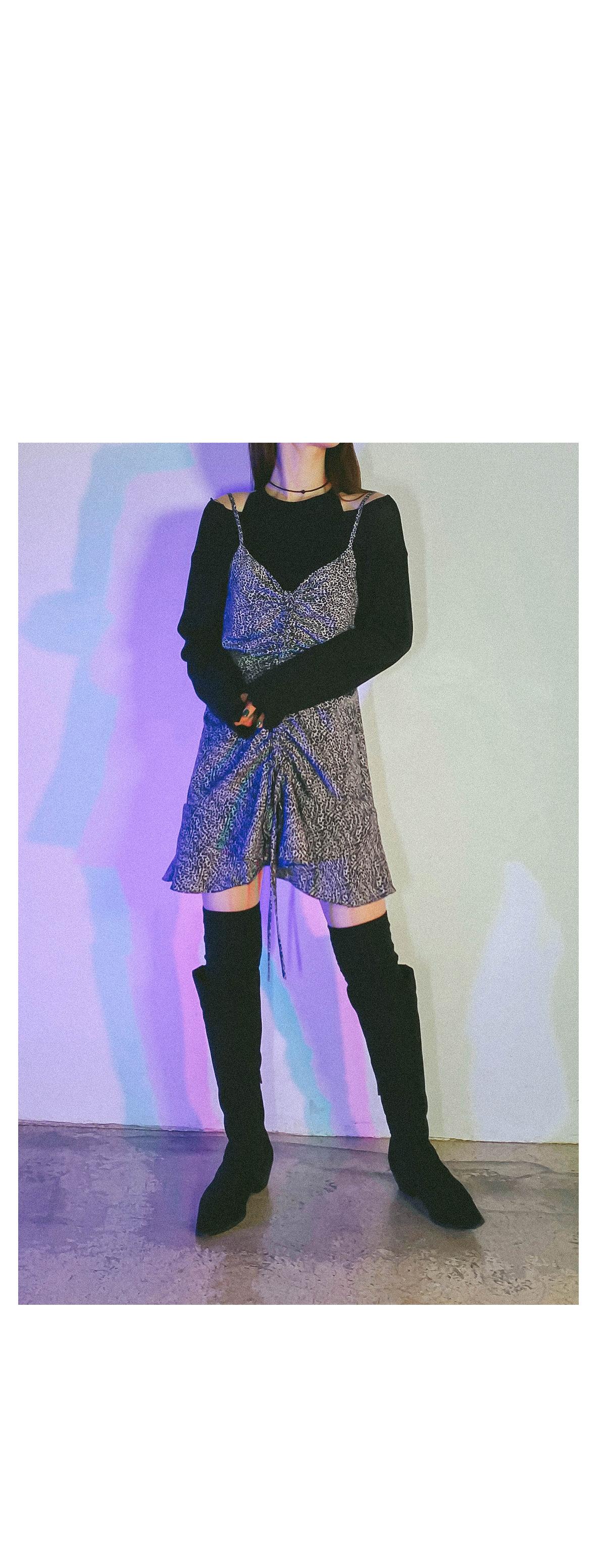 Leopard Mutter Shirring Dress