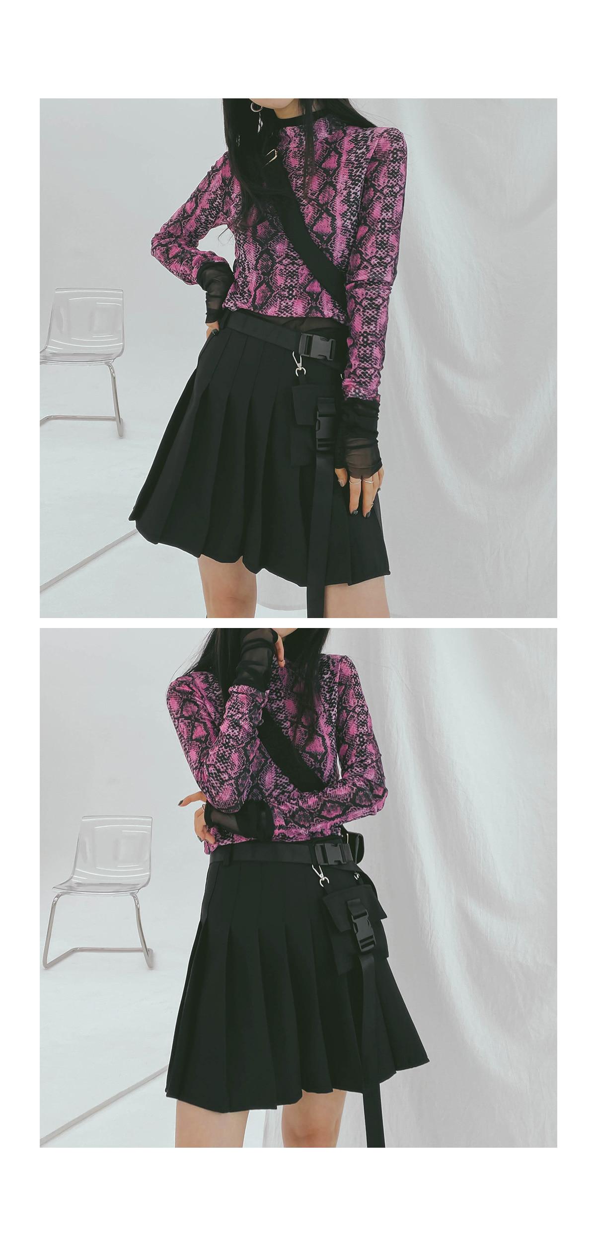 Pocket pleated skirt