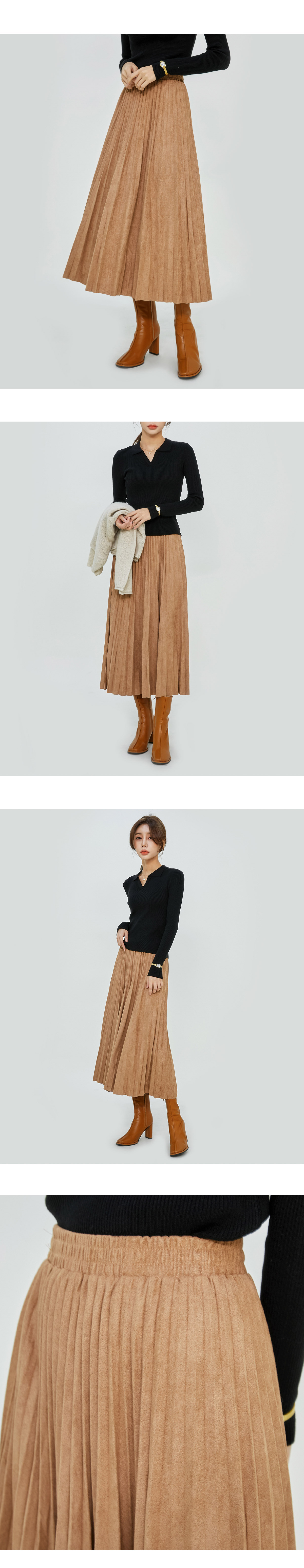 Suede pleated long skirt
