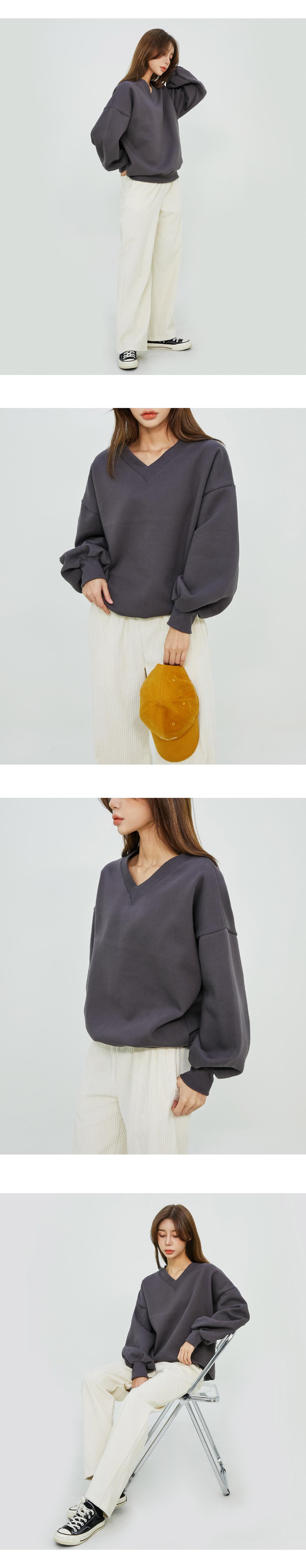 Bottle v neck Fleece-lined mtm