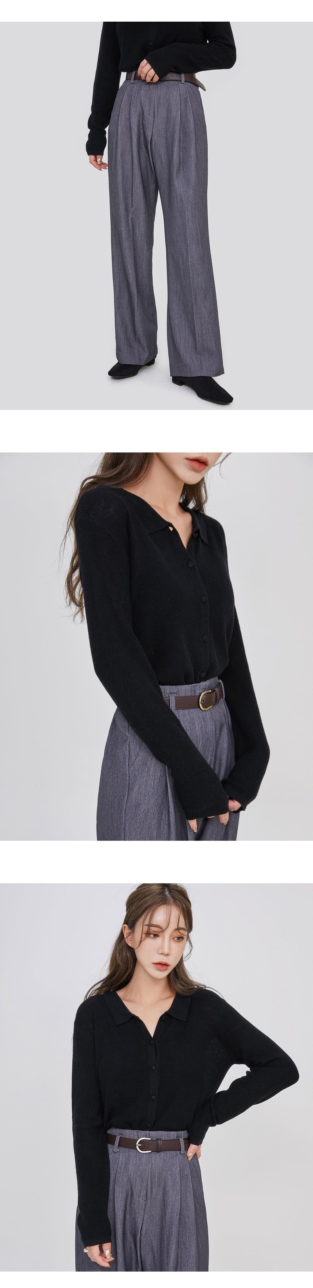Wool collar cardigan