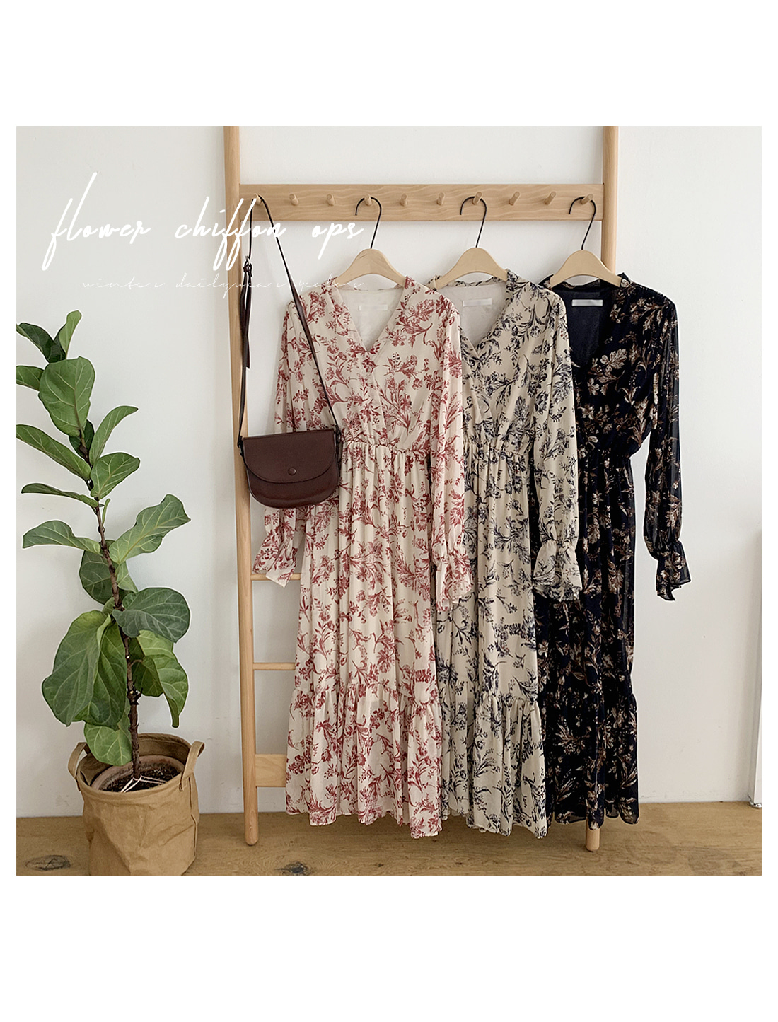 Shua Flower Long Dress-Navy, Beige+Navy