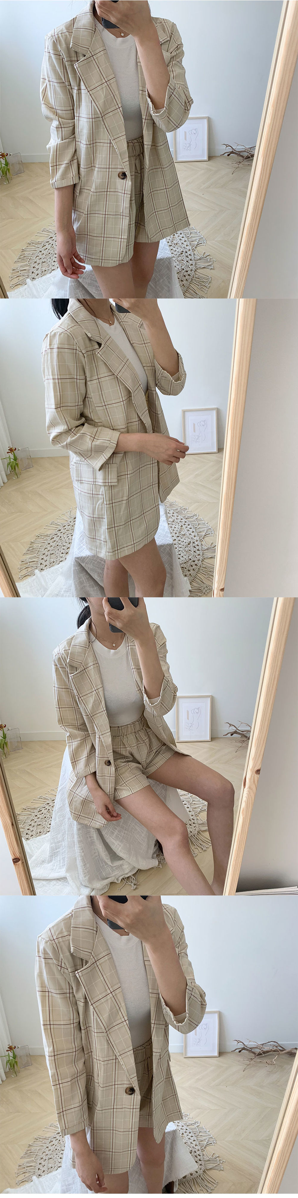 Check Jacket Two Piece Set T#YW132