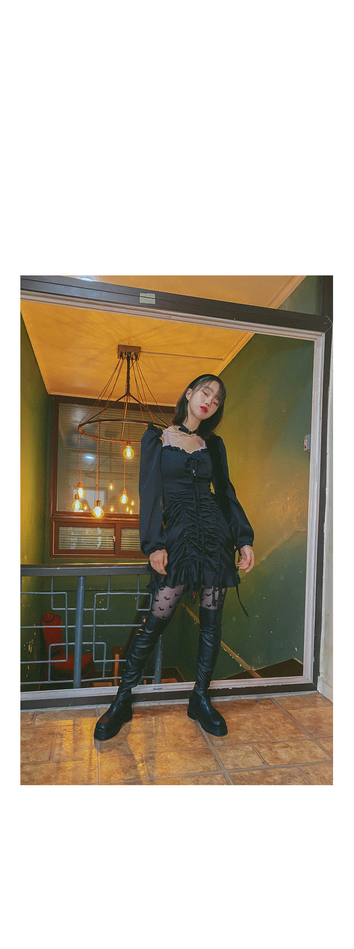 Satin shirred mini dress