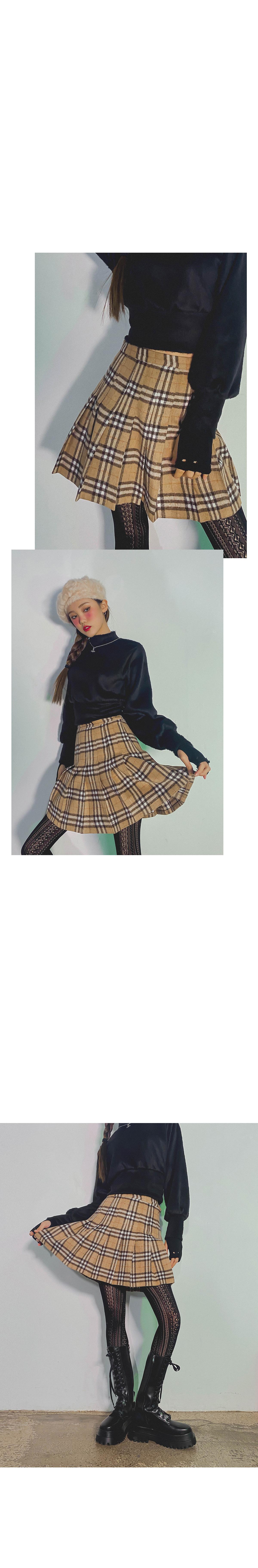Check Ant Wool Skirt