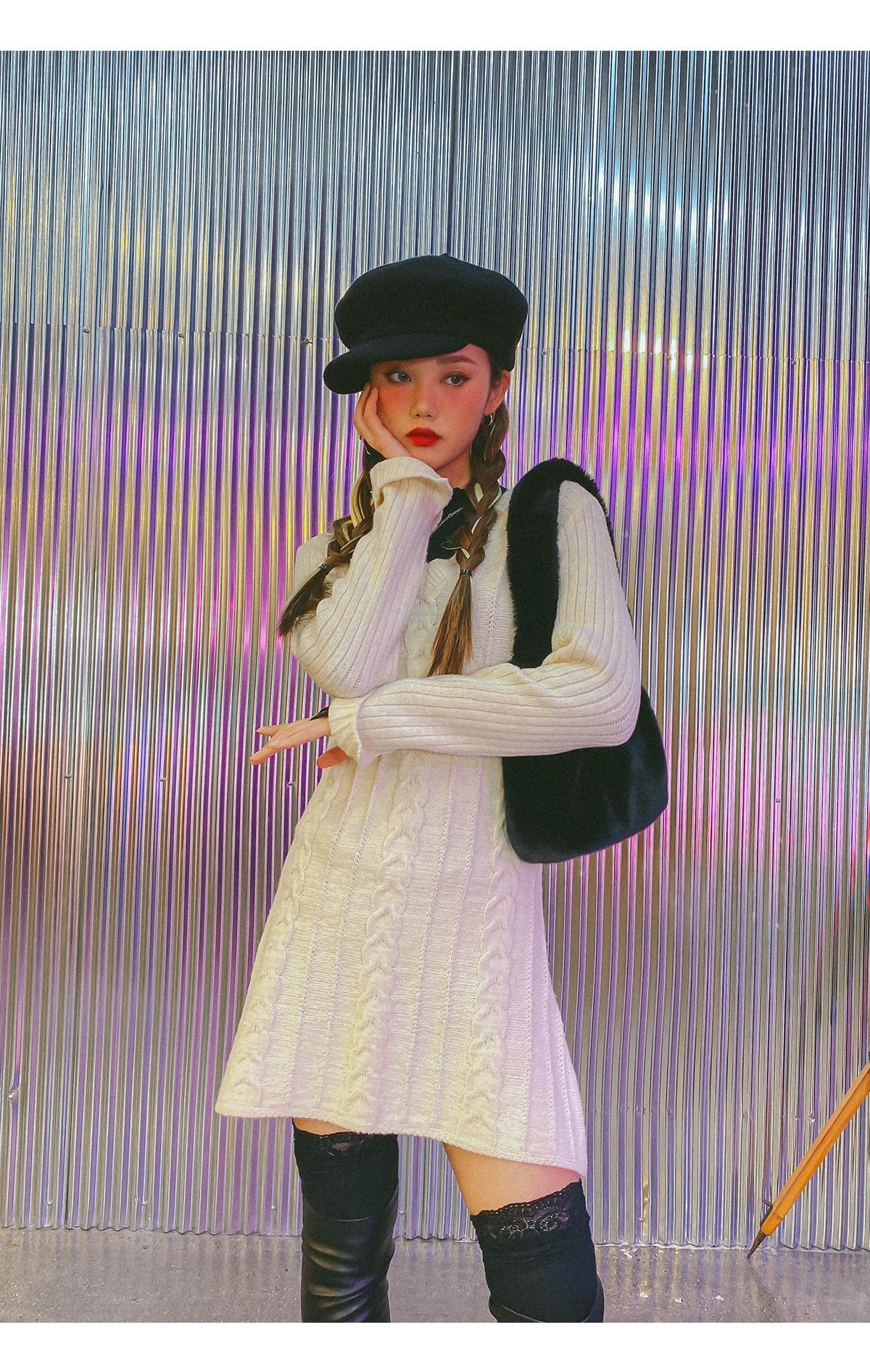 麻花紋V領針織洋裝