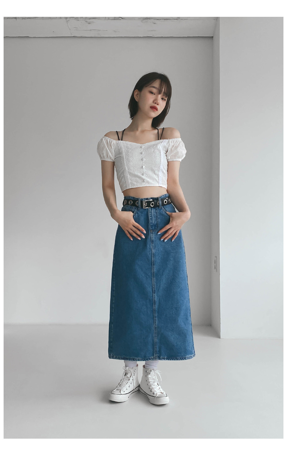 Long Eel denim skirt
