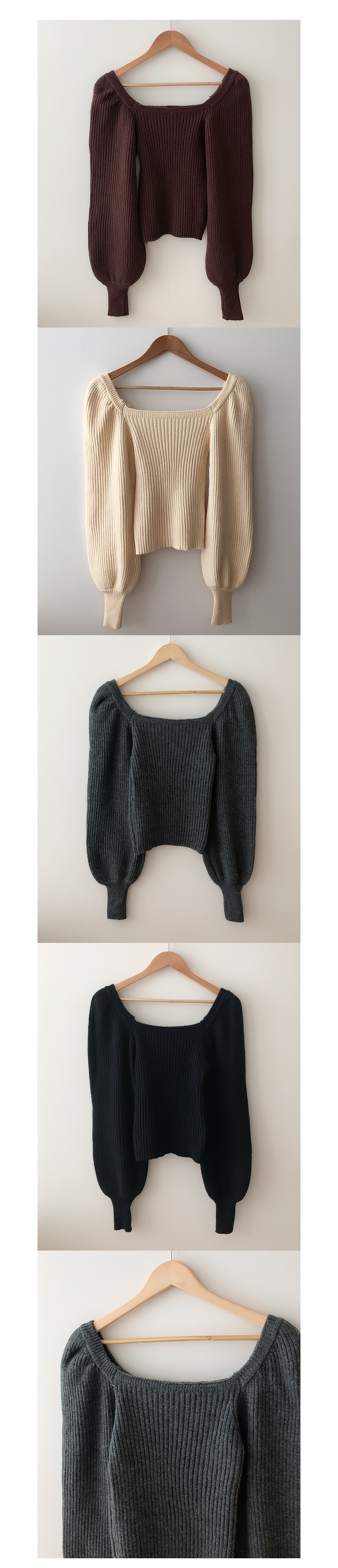 Glam Ribbed Puff Knitwear 4color