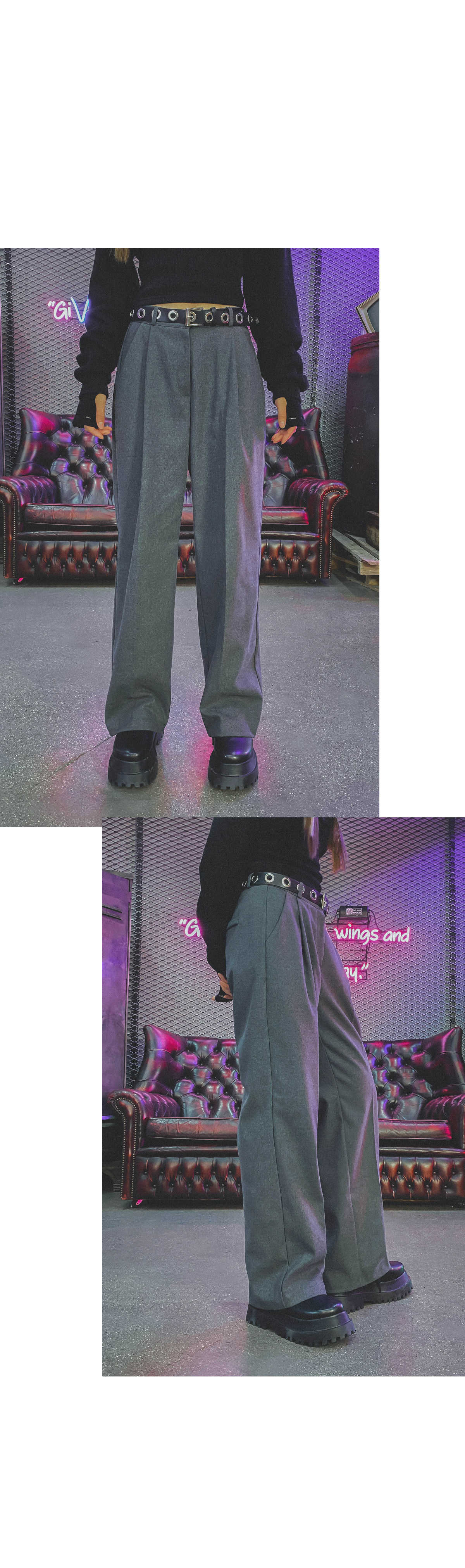 Fleece-lined Shua Pin Tuck Slacks