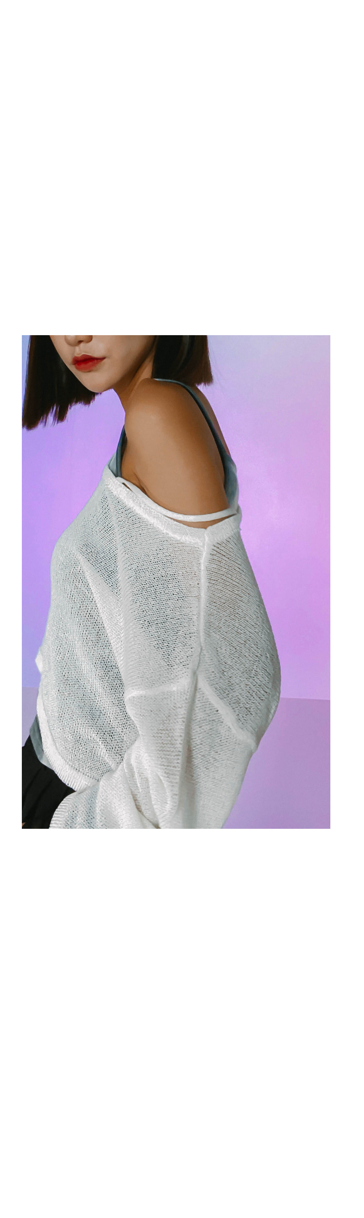 Shoulder unfoot crop knit