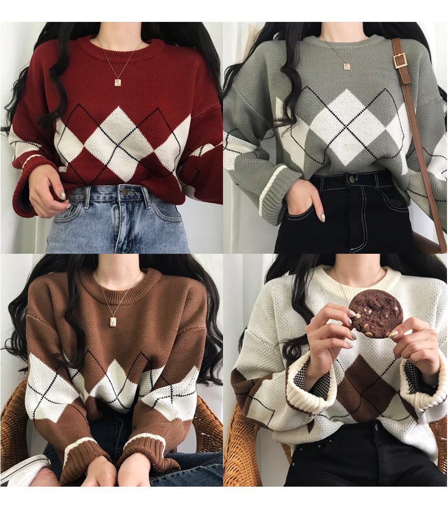 Gato Argyle Unisex Loose Fit Knit