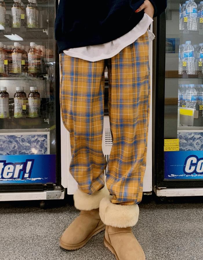 Daily Check Banding Wide Long Pants